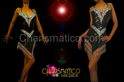 CHARISMATICO Halter style black sequin Latin dance dress with iridescent crystals