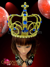 Drag queen metallic gold beaded crown with sapphire crystal embellishments