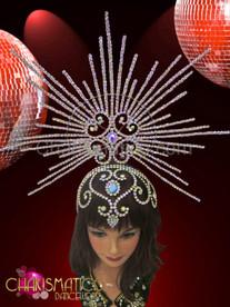 Rhinestone and iridescent crystal swirled cap with stunning burst halo