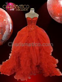 CHARISMATICO Red sequined corset pageant ballgown with full gathered tail skirt