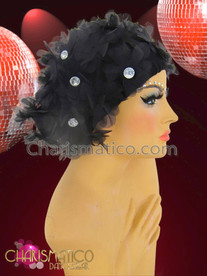 CHARISMATICO Black diva's cap with shimmering organza  brilliant crystal centered flowers