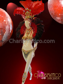CHARISMATICO Multi-piece feathered Red and gold beaded Brazilian carnival costume set