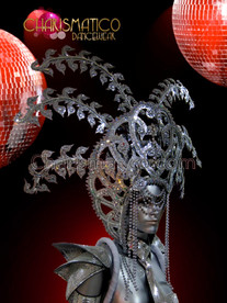 CHARISMATICO Bold Drag Queen's silver leaf headdress with glitter, sequins, and mirrors