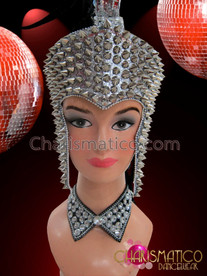 CHARISMATICO Drag Queen's Black feathered Mohawk headdress with silver spiked glitter base