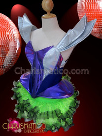 CHARISMATICO Purple and silver Gaga corset with green glitter dotted Tutu