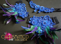 CHARISMATICO blue sequin Appliqué accented purple and green feather bra and skirt set