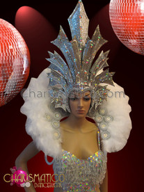 CHARISMATICO White crystal accented showgirl's leotard, headdress, and backpack collar set