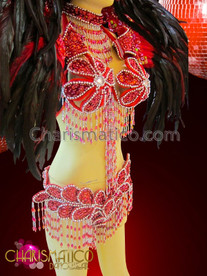 CHARISMATICO four piece Red and white floral Brazilian carnival costume set