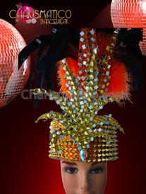 CHARISMATICO Fez like orange satin headdress with golden spikes and orange plus black feathers