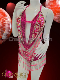 CHARISMATICO Beaded and sequined Fuchsia dancers leotard with Halter back fitting