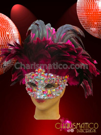 CHARISMATICO pastel crystal crusted diva's carnival mask with fuchsia and black feathers