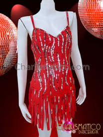CHARISMATICO Diva's red self fringed Latin dance dress with sequin highlights