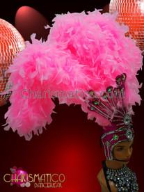 CHARISMATICO showgirl's Fuchsia glitter based Uniform inspired pink feather boa headdress