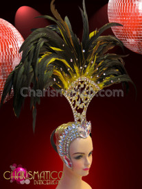 CHARISMATICO Golden glitter fan style headdress with crystals and yellow feathers