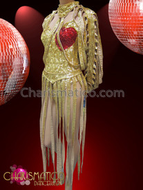 Cher 'Dressed To Kill' Tour metallic gold sequin dress with red heart detail