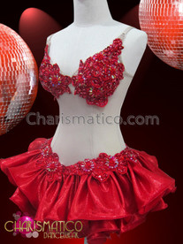 CHARISMATICO Nude Illusion two piece red beaded dress with satin ruffle skirt