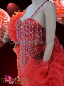 CHARISMATICO Showgirl's red beaded hotpant dance leotard and ruffled organza boa