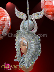 CHARISMATICO Silver glitter Diva drag queen Egyptian Pharaoh headdress with beading