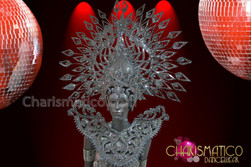 CHARISMATICO Mirror Tiled, Crystal Encrusted Men's Silver Shield and Headdress Set