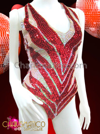 CHARISMATICO Sexy Diva Showgirl Metallic Red and Iridescent White Sequined Leotard