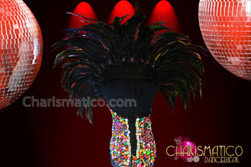 CHARISMATICO Multi-Color Corset Styled Leotard Top and Crystal Rainbow Sequined Backpack