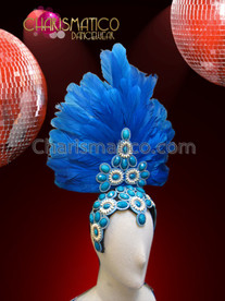 CHARISMATICO Classic Arrowhead Turquoise Bead and Crystal Blue Feather Diva Headdress