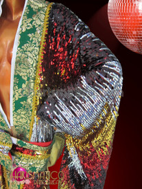 """CHARISMATICO Traditional Looking Japanese sequin """"Kimono"""" Outfit with Green and Gold Trim"""