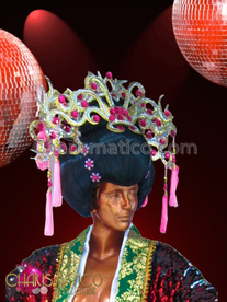 CHARISMATICO Semi-Traditional Pink and Gold Maiko Wig Styled Drag Queen Headdress