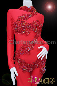 CHARISMATICO Mock Turtleneck Zipper Back Beaded Appliqué Red Burlesque Diva's Catsuit