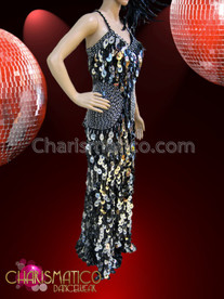 CHARISMATICO Drag Queen's Iridescent Silver and Charcoal Jumbo Sequin Pageant Gown