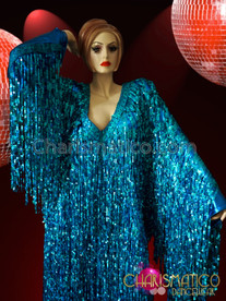 CHARISMATICO Floor Length V-Neck Metallic Blue Sequin Fringe Drag Queen Gown