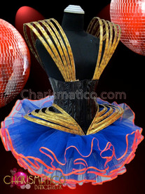 CHARISMATICO Gold and Black Diva Showgirl Corset with Royal Blue Tutu