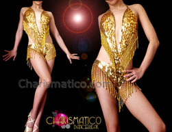 CHARISMATICO Halter Style Metallic Gold Sequin Dancer Leotard With Beaded Fringe