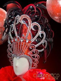 CHARISMATICO Diva's Rhinestone Adorned Red Glitter With Black Tipped Feather Headdress