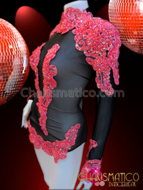 CHARISMATICO Shimmering Black Showgirl's Dance Leotard With Beaded Red Appliqué Accents