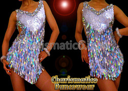 Silver SEXY DIVA Sequin Showgirl DANCE Dress