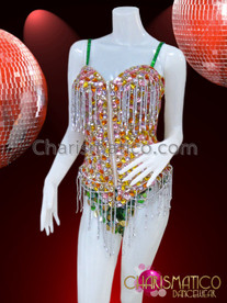 CHARISMATICO Pink, Amber, and Crystal Stone Leotard With Green and Silver Accents