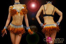 CHARISMATICO Rhinestone Accented Golden Yellow Feather Bra, Bracelet and Skirt Set