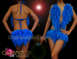 CHARISMATICO Intense Royal Blue Feather Halter Style Latin Dance Leotard Dress