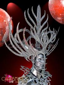 CHARISMATICO Mens Elegant Mirror Tiled Edged Metallic Silver Glitter Mask Headdress
