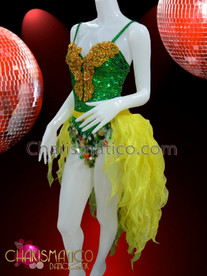 CHARISMATICO Ornate Golden Beaded Appliqué Accented Green Sequin Leotard and Yellow Tail