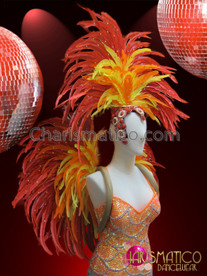 CHARISMATICO Orange Scale-Patterned Sequin Leotard, Backpack and Headdress Brazil Costume Set