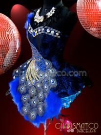 CHARISMATICO Exotic Midnight Velvet Bejeweled Royal Blue Peacock Embellished Dollie Dress