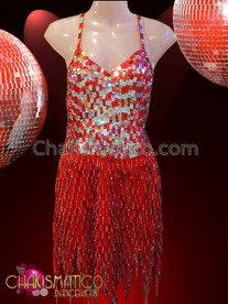 CHARISMATICO Iridescent Silver Accented Red Sequin Beaded Fringe Feathered Skirt Dress