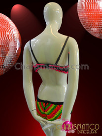CHARISMATICO Brightly Multi-Colored Neon Beaded Bikini Top And Matching Short Pants