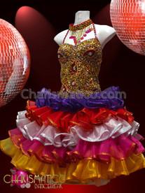 CHARISMATICO Fluffy Sweet Ornate Gold Beaded Rainbow Organza Ruffle Sissy Dress