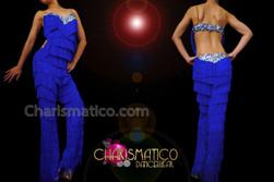 CHARISMATICO Shimmering Crystal Embellished Intense Royal Blue Fringe Dance Pant Bodysuit