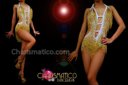 CHARISMATICO Iridescent White Sequined Metallic Gold Beaded Fringe Latin Dance Leotard