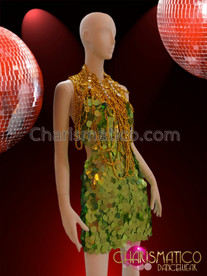 CHARISMATICO Green Jumbo Sequin Halter Dress With Golden Diva's Gothic Necklace