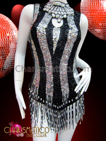 CHARISMATICO Black and Silver Sequin Striped Keyhole Dancer's Beaded Fringe Leotard